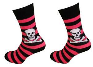 Ladies 2 Pair Pack of Skull and Crossbones Socks