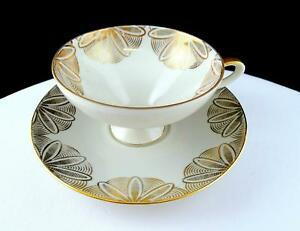 "GERBRUDER WINTERLING #21 GOLD FLORAL 2 3/8"" FOOTED CUP AND SAUCER 1907-1945"