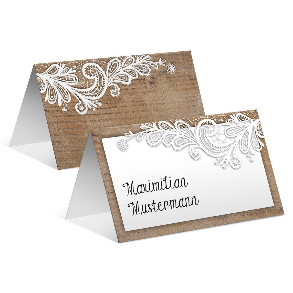 Tischkarten Hochzeit - Rustikal mit weißer Spitze - Platzkarten Namenskarten | Vogue  | Schön geformt