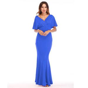 new concept 7000e b8401 Dettagli su Elegante vestito abito lungo sera evento manica blu slim  morbido 4820
