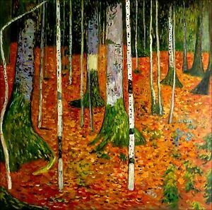 Hand-Painted-Oil-Painting-Gustav-Klimt-Farmhouse-with-Birch-Trees-II-36x36in