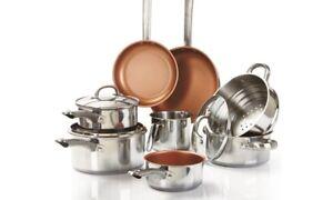 11-Piece-Acier-Induction-Pan-Set-cuivre-style-antiadhesif-en-ceramique-de-bruleurs-NEUF