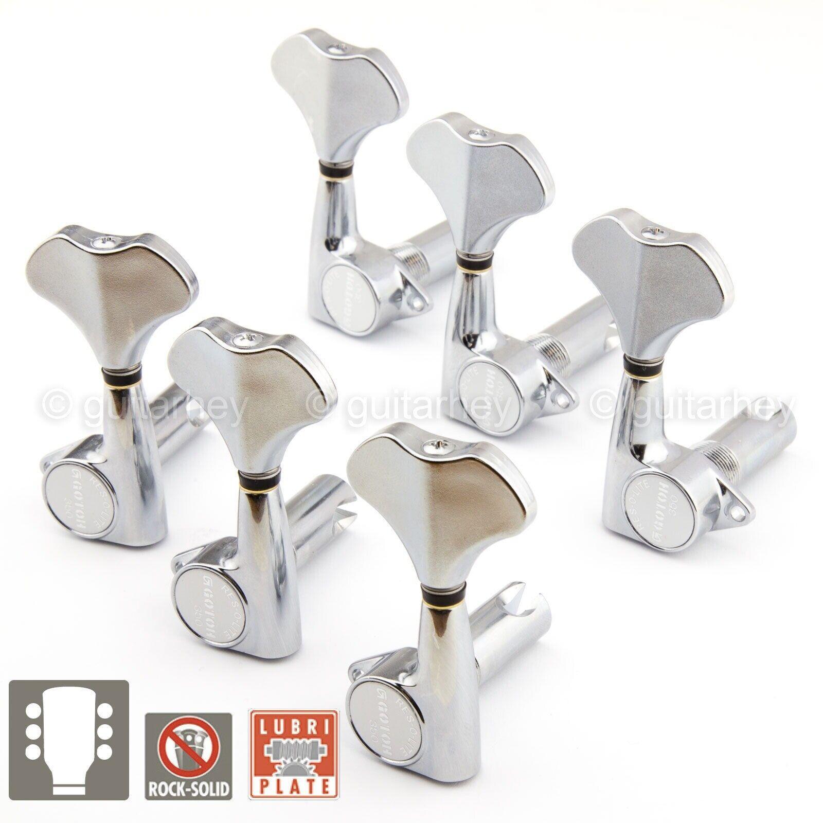 NEW Gotoh GB350 RES-O-LITE Aluminum Bass 6-String Tuning Keys L3+R3 Set - CHROME