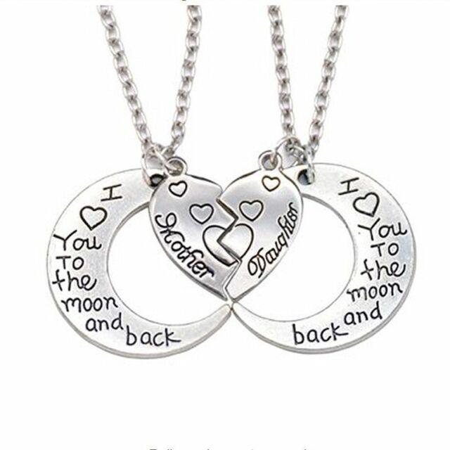 2pcs Mother Daughter Necklace I LOVE YOU TO THE MOON & BACK Friendship Jewelry