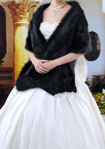 Black Faux Fur Jacket Wrap Shrug Bolero Shawl Cape Bridal Wedding