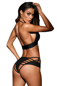 5b3a81ca07 Sexy Black Strappy Bra Underwear Panties Set Bralette Lace Lingerie ...