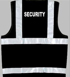 SECURITY-BLACK-HI-VIS-HIGH-VIZ-SAFETY-VEST-SMALL-XXXL