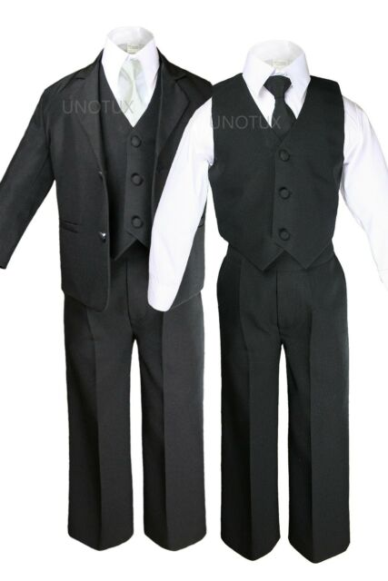 NEW BABY BOY KID TEEN 6 PC Extra Necktie WEDDING FORMAL TUXEDO SUIT BLACK S-20