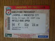 21/08/2004 Ticket: Liverpool v Manchester City  (folded)