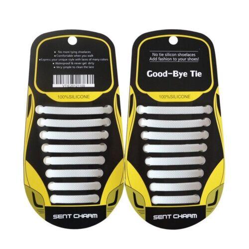 16PCS Easy No Tie Shoelaces Unisex Elastic Flat Shoe Lace Sneaker Silicone Laces