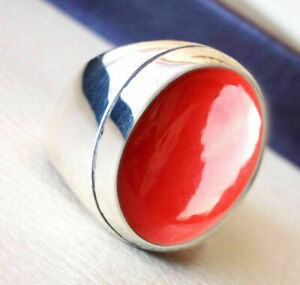 925-Sterling-Silver-Certified-Natural-Handmade-9-Carat-Coral-Christmas-Mens-Ring