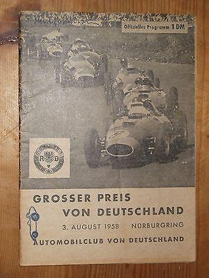 1958 Programme German Grand Prix F1 Nürburgring Brooks Graf Berghe V Trips Lotus Elegant Und Anmutig