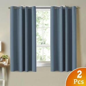 Blackout Room Darkening Grommet Curtains Citadel/ Blue Grey 52 x