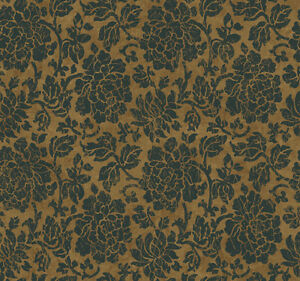 Wallpaper-Designer-The-Carlisle-Company-Big-Black-Floral-Damask-on-Brown