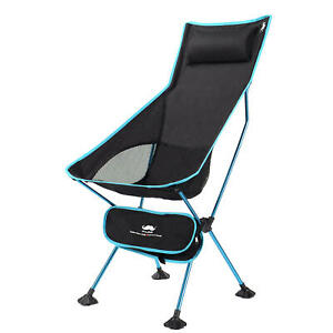 Portable High Back Camping Chair w/ Headrest, Folding Seat for Fishing/BBQ-Blue