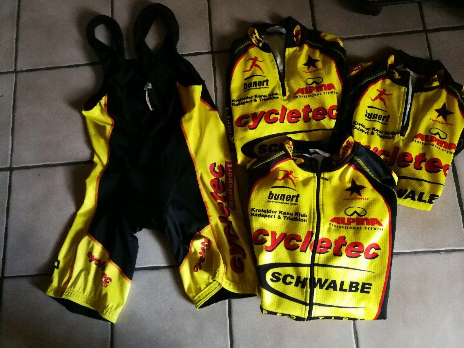 Rad 4 Teiliges Setcycletec  Team  R&P Bau2 Trikot, Trägerhose,Jacke
