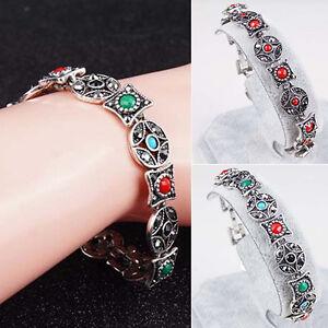 EG-HK-Women-039-s-Boho-Bracelet-Round-Coin-Rhombus-Resin-Cuff-Bangle-Chain-Jewelry
