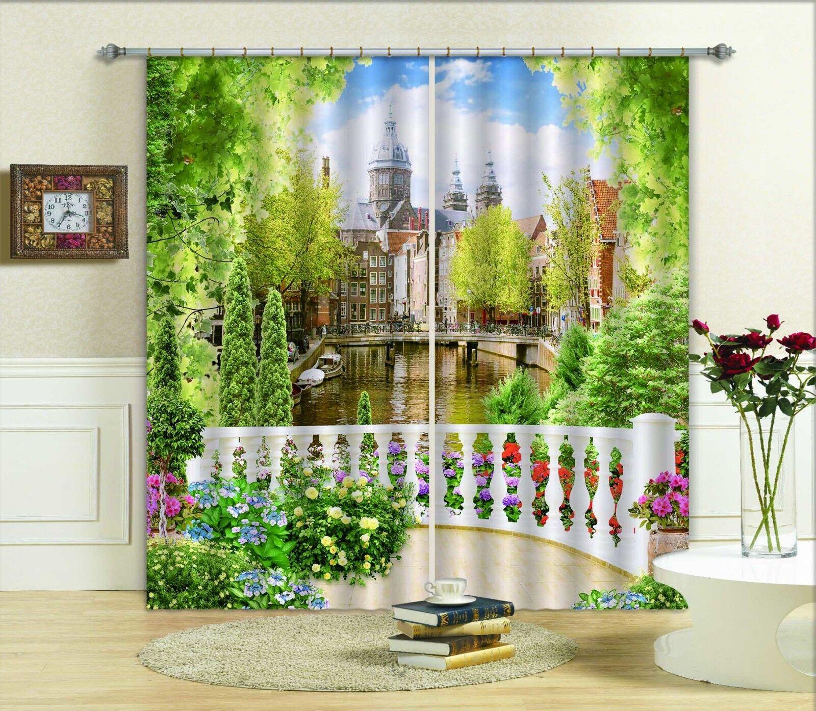 3D árbol Palacio 8 Cortinas de impresión de cortina de foto Blockout Tela Cortinas Ventana au