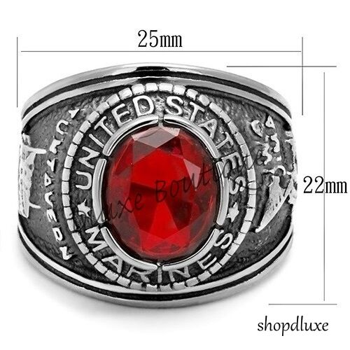 Men/'s Stainless Steel Siam Red United States US Marines Military Ring Size 8-14