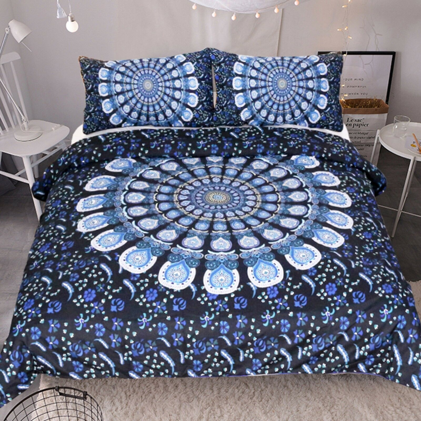 3D Feather Pattern 45 Bed Pillowcases Quilt Duvet Cover Set Single Queen CA