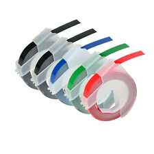 5pk Black Red Green Blue For Dymo Label Makers 3d Plastic Embossing Tapes 38