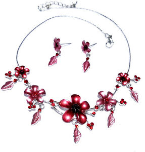 Floral-Red-Rhinestone-Necklace-Earring-Austrian-Crystal-Set-Bridal-Prom-Jewelry