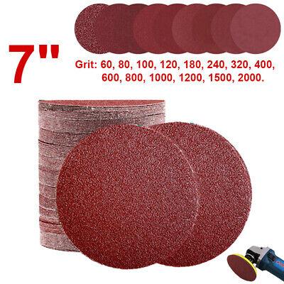 "10//20pcs 7/"" Sanding Discs Sander Pads Hook and Loop Sandpaper 60~2000 Grit 180mm"