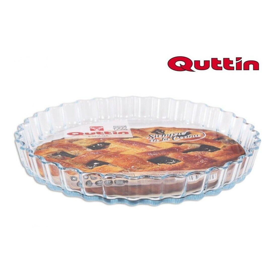 Molde de tarta de vidrio rizado y térmico circular. Quttin. 27 cm.