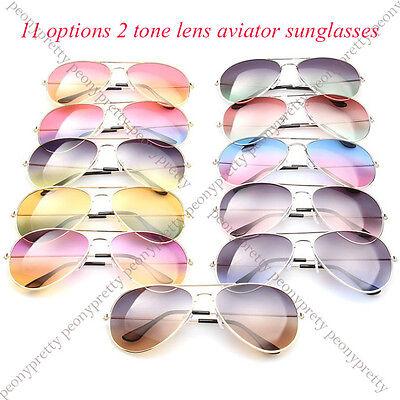 2 tone lens classic aviator men women unisex sunglasses 100% UV protection
