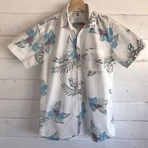 Weinrot-Blau-Weiss-Floral-Kurzarm-Hawaii-Aloha-Hemd-Small-Herren-Slim