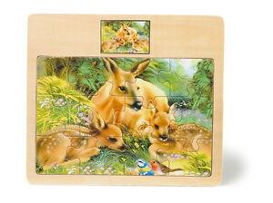 Puzzle-per-bambini-034-Famiglia-di-daini-e-bambi-034-12-pezzi-cornice-in-legno