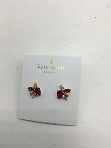 b3047f2eeb39b Details about $48 Kate Spade gold tone RED crystal cluster stud earrings  FLYING COLORS #647