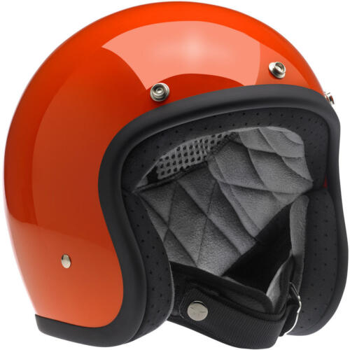 Biltwell BONANZA Vintage Retrò Casco Helmet Orange Gloss Hazard esaminato DOT