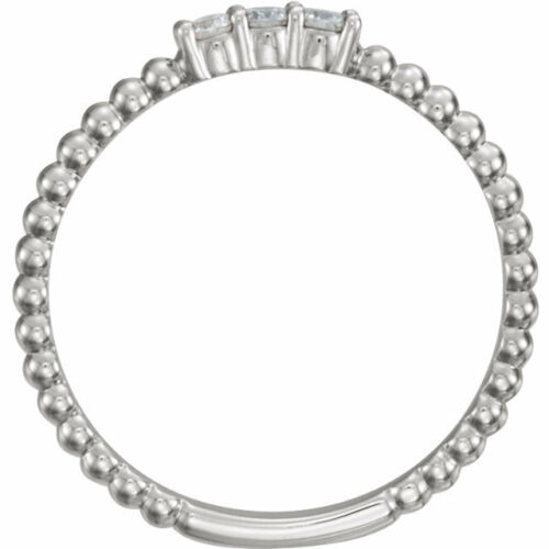 Authentique 1//10 CTW Diamond empilable Perles Design Ring 14K Jaune Blanc or Rose