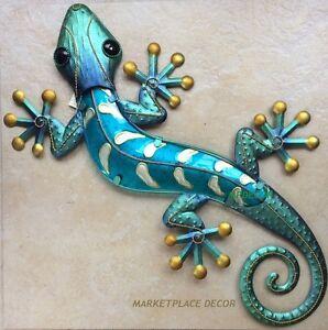 "Large 23"" Blue Gecko Lizard Wall Art Decor Glass Metal Hanging Indoor Outdoor"