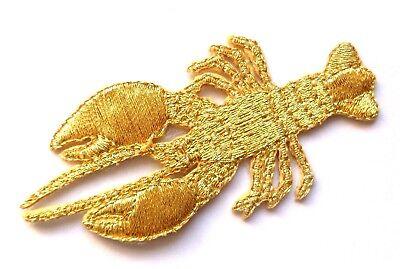 IRON ON PATCH APPLIQUE CRAB METALLIC GOLD