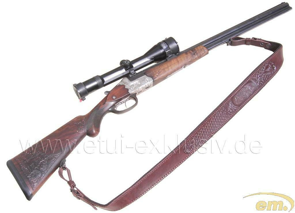 Rifle correa con motivo de  caza, grabado a ciegas, marrón  punto de venta