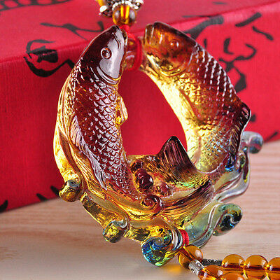 Handmade Crystal Glass Talisman Feng Shui Fishes Hanging Ornaments Money Drawing