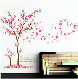 wandtattoo kinderzimmer pink rosa herzen liebe baby m dchen wandsticker baum ast ebay. Black Bedroom Furniture Sets. Home Design Ideas