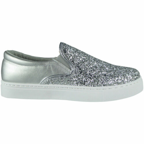 New Womens Ladies Trainers Slip On Flat Glitter Gym Sneakers Pumps Shoes Size