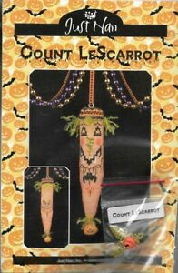 Just-Nan-Count-LESCARROT-JN195-Kit-Fabric-Some-Floss-Pumpkin-Charm-amp-More