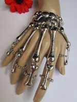 Women Silver Multi Fingers Metal Hand Chain Skeleton Fashion Slave Bracelet Ring