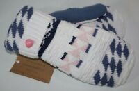 Valley View Farms Recycled Cotton Sweater Mittens Fleece Lined White Pink Blue