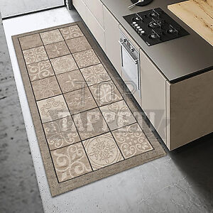 Majolica tortora tappeto passatoia cucina bagno lavabile antiscivolo piastrelle ebay - Tappeti cucina ebay ...