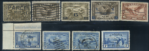 Canada-C1-C9-used-F-XF-1928-1946-Airmail-Complete-Set-CV-50-50
