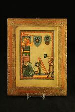 Vtg Osvaldo Bohm Photografie Venezia Italy Gilt Wood Codex Manesse Print Plaque