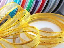 "25 yards Roll 3/8"" Organza Ribbon Gold Edged Trim/Bow/Sheer/Craft/9mm R11-Yellow"