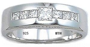 Genuine-Sterling-Silver-Created-Diamonds-Mens-Wedding-Engagement-Band-Ring