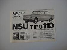 advertising Pubblicità 1965 NSU TIPO TYP 110