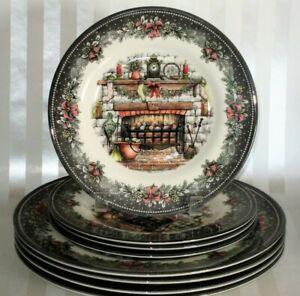 8-Royal-Stafford-Christmas-Cozy-Fireplace-Stockings-4-DINNER-4-SALAD-Plates-NEW